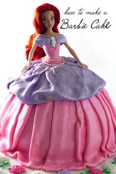 A Barbie cake is perfect for any girls birthday cake. Learn how to make this cake with a fondant dress and a pretty spar Birthday Cake Video, Barbie Birthday Cake, Birthday Cake Girls, Princess Birthday Cakes, Bolo Barbie, Barbie Princess, Princess Doll Cakes, Easy Princess Cake, Princess Dress Cake