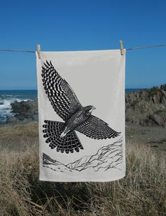 From my original drawing done in pencil and then pen and ink, this image captures the majestic Falcon flying high over the New Zealand landscape. New Zealand Landscape, Animal Illustrations, Step By Step Painting, Canvas Frame, Tea Towels, Wild Flowers, Nativity, Screen Printing, Piercing