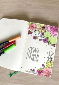 Bullet Journaling March Cover Page #bulletjournal #bulletjournaling #brushlettering #doodling #marchbulletjournal #march
