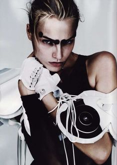 Monochrome Makeup - 'Future Beauty' in Vogue UK Showcases Athletic-Inspired Face Paint. Couture.