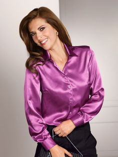 May 9 2020 - Ecru satin blouse - women's shirt blouses RZUWJEQ Blouse Sexy, Blouse And Skirt, Satin Bluse, Elegantes Outfit, Beautiful Blouses, Sexy Older Women, S Shirt, Lace Tops, Satin Dresses