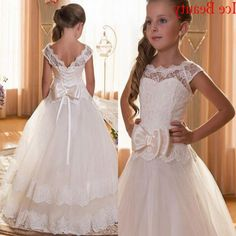 2016 White Floor Length Flower Girl Dresses For Weddings Cap Sleeves Lace Tulle Kids First Communion Dress 2016 Cheap Puffy Prom Dress Puffy Prom Dresses, Girls Bridesmaid Dresses, Girls Pageant Dresses, Party Dresses, Flower Girl Tutu, Lace Flower Girls, Flower Girl Dresses, First Communion Dresses, Mode Hijab