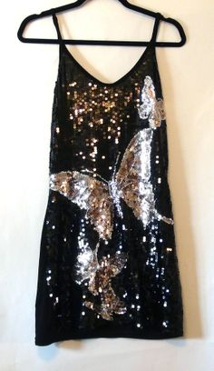 Vintage Black Gold Silver Sequin Mini Dress by NativeLilacVintage, $20.00