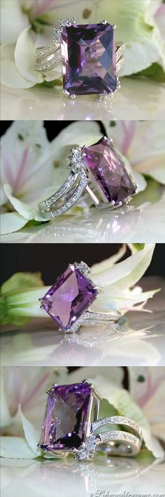 Picture Perfect: Amethyst Ring with Diamonds, 10.13 ct. WG-14K – Visit: schmucktraeume.com Mail: info[at]schmucktr…