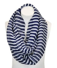 Another great find on #zulily! Navy Blue & White Stripe Infinity Scarf by Leto Collection #zulilyfinds 7.99