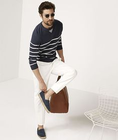 Men's Riviera Outfit Inspiration - Breton Stripe Top - First worn by the French…