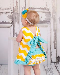 Pinafore Top and Ruffle Diaper Cover - Aqua, Yellow, and White Chevron Swing Top - Bloomers - Ruffle Top. $45.00, via Etsy.