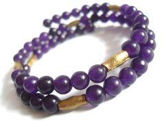 Purple Gem Bracelet Russican Amethyst and Antique by IyanaDesigns