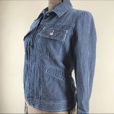 """Ralph Lauren LRL Striped Jean Jacket💕 Full zip, 3/4 sleeve, blue & white striped jean jacket from Ralph Lauren. Two front button pockets, two front slash pockets and gathering at sides to give a more fitted look. Super cute, like new condition!  Size-Medium. Sleeve length-18 1/2"""", Center back length-22"""", Approximate bust size-35"""". 100% cotton, machine wash. Ralph Lauren Jackets & Coats Jean Jackets"""