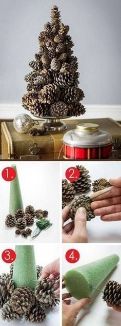 Easy diy cheap christmas decor-- super easy pine cone tree c Cheap Christmas, Rustic Christmas, Christmas Holidays, Christmas Ornaments, Christmas Projects, Holiday Crafts, Deco Table Noel, Deco Nature, Pine Cone Crafts