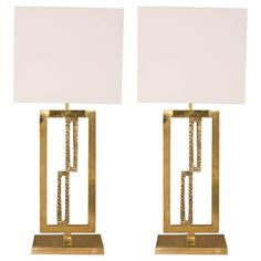 Pair of Lamps in Brass and Cast Bronze | From a unique collection of antique and modern table lamps at https://www.1stdibs.com/furniture/lighting/table-lamps/