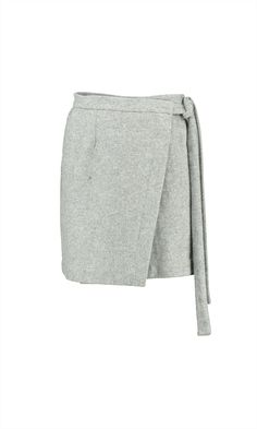 Woolen mini wrap skirt with adjustable waist ties. Fully lined. Composition…