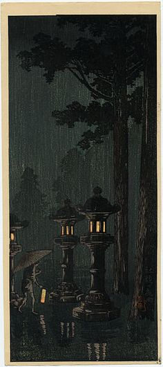 Takahashi Shotei (1871-1945) | Night rain at a shrine