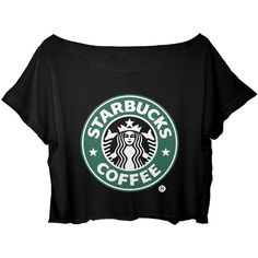 ASA Women's Crop Top Starbucks Coffee T-shirt ($17) ❤ liked on Polyvore featuring tops, t-shirts, shirts, crop tops, women tops, coffee t shirt, t shirts, crop top and shirts & tops