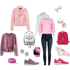 College Time in Pink by keepfashion92 on Polyvore featuring moda, Chicwish, Piel Leather, NIKE, GUESS and FOSSIL