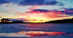 Luontoäidin toritaidetta Näsijärveltä / Sunset,  Näsijärvi still frozen