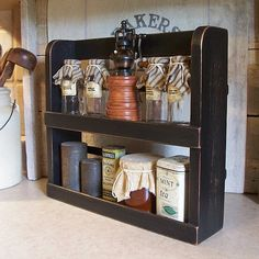 Primitive Spice Rack Two Shelf Farmhouse Kitchen Storage / Lamp Black / Color Choice. $38.00, via Etsy.