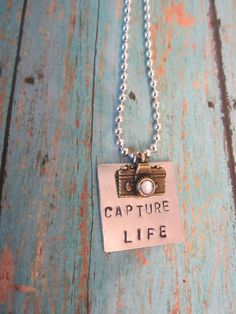 Capture Life Metal Stamped Necklace with crystal by cclk32 on Etsy, $17.50