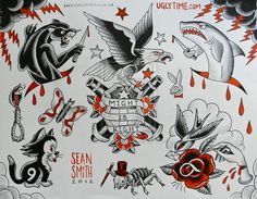 red and black tattoo flash sheet 4 by *creaturetown Traditional Art / Drawings / Surreal