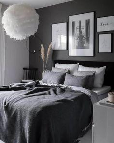 Room Ideas Bedroom, Home Decor Bedroom, Modern Bedroom, Bedroom Furniture, Master Bedroom, Contemporary Bedroom, Ikea Bedroom, Dark Gray Bedroom, Black Bedrooms