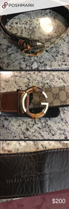 Gucci Belt with Bamboo Buckle 90/36 Gucci fabric on outside leather inside... there is 1 man made hole .... otherwise belt in excellent condition Gucci Accessories Belts