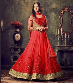 GLAMOROUS RED PURE GEORGETTE ANARKALI SUIT