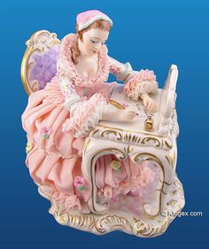 QVC Irish Dresden Lace Figurines | Irish Dresden Lace Girl Figurine - Love Letter