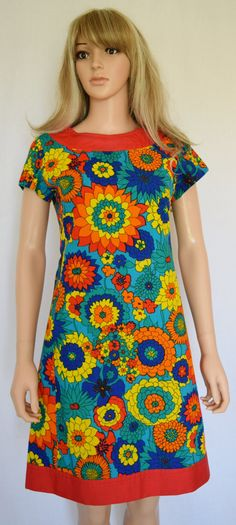 Vintage 1960's The LILLY PULITZER RaiNboW PsYcHeDeLiC  Hawaiian Tropical FLoWeR MoD HiPPiE MiNi Dress Size M