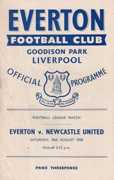 Everton 0 Newcastle Utd 2 in Aug 1958 at Goodison Park. The programme cover #Div1