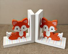 Use these cute baby fox bookends to complement your woodland nursery and childs room decor. An adorable gift for baby showers and as birthday gift