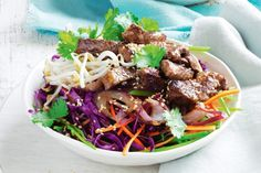 Serve up a tasty meal in just 30 minutes these five-spice lamb steaks served with a fresh red cabbage salad.