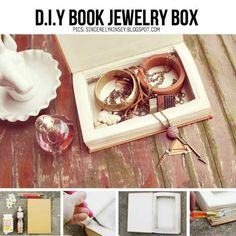 DIY Book Jewelry Box Fun craft for teen/tween girl winter break; maybe use outdated JW books? Like-our heritage. Fun Crafts For Teens, Crafts To Make, Homemade Gifts, Diy Gifts, Diy Projects To Try, Craft Projects, Nachhaltiges Design, Book Jewelry, Diy Jewelry