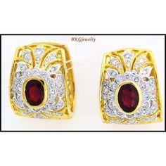 http://rubies.work/0583-emerald-rings/ Gemstone 18K Yellow Gold Diamond Unique Ruby Earrings by BKGjewels
