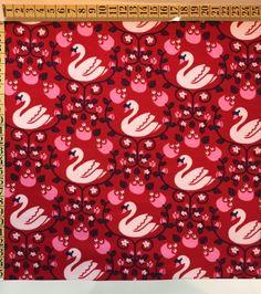 Romantisk bomuldsjersey med svaner | Metermål