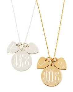 Sarah Chloe 14k Gold Plated Edie 3-Pendant Necklace with Personalized Monogram, Initial & Name