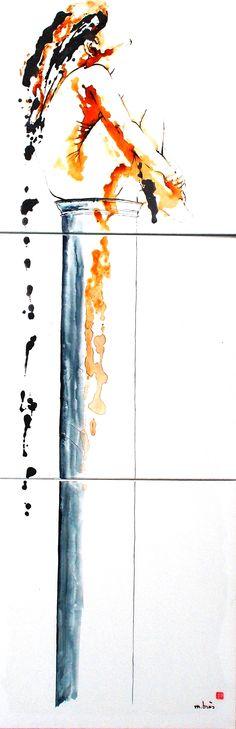 Coup de cœur du concours peinture toutes techniques sur www.myrankart.com  Stylite Ou Elévation 70 X 210 Cm (Triptyque) by Monick Bres