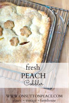 Quick cobbler that uses fresh peaches and an easy to mix up dough for the crust. Could be doubled to feed a crowd!