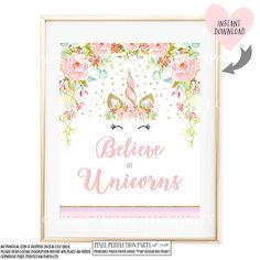 Believe In Unicorns Table Sign Floral Unicorn Table Sign