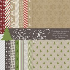 Free: 18 designed digital scrapbooking papers for Christmas by Erin Rippy of Rippy - Ink Tree Press Christmas Scrapbook Paper, Printable Scrapbook Paper, Christmas Paper, Printable Paper, Xmas, Printable Stickers, Digital Paper Free, Free Digital Scrapbooking, Digital Scrapbook Paper