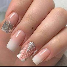 French Nail Designs, Nail Art Designs, Beauty Nails, Hair Beauty, Geometric Nail, Pretty Nail Art, Best Acrylic Nails, French Nails, Love Nails