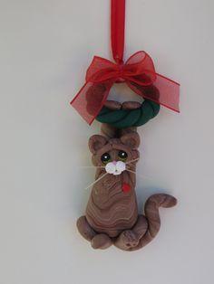 Brown Tabby Cat Christmas Ornament Polymer Clay by HeartOfClayGirl, $16.95