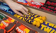Sweets in felt newsagent. London store..all in felt.  SO COOL!!  Make up that kids play store now.  Photograph: Rosie Hallam/Barcroft