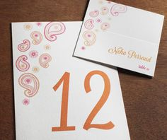 Modern orange and pink paisley table number and place card set.  | Invitations by Ajalon | invitationsbyajalon.com
