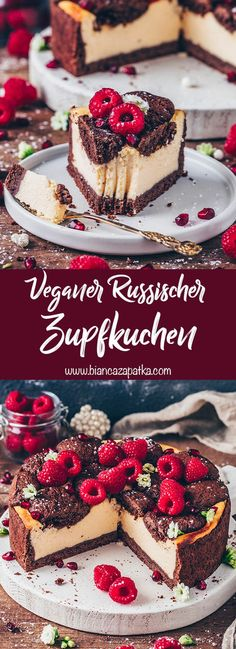 This Vegan Russian Cheesecake is a popular German recipe that combines chocolate cake and baked cheesecake into one delicious dessert! It's moist, creamy, rich in chocolate flavor and perfect for birthday parties or any occasion! Cake Vegan, Vegan Cheesecake, Cheesecake Recipes, No Cook Desserts, Vegan Desserts, Delicious Desserts, German Chocolate Cheesecake, Chocolate Cake, German Cakes Recipes