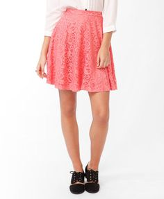 ShopStyle: Forever 21Lace Overlay A-Line Skirt
