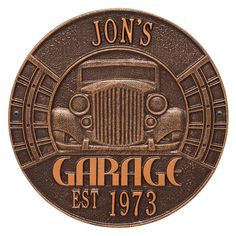 Personalized Vintage Garage Wall Plaque at Signals | RA3152