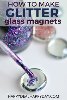 Learn how to make glitter glass magnets using the glass gems you can get at the dollar store!  Plus you'll find a new way to use glitter nailpolish!  #glitter #magnets #handmademagets #dollarstore Glitter Magnets, Glass Magnets, Diy Magnets, How To Make Glitter, How To Make Paper Flowers, Homemade Christmas Gifts, Homemade Gifts, Dollar Store Crafts, Dollar Stores