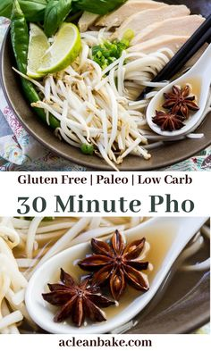 Pho is a ubiquitous Vietnamese soup that consists of noodles, meat and some veggies and herbs in a rich, aromatic broth. My 30 minute gluten free pho is a low-maintenance version that is easy to make at home! #glutenfreepho #easyphorecipe #vietnameserecipe #lowcarbrecipe #ketosouprecipe #easyketorecipe #healthysouprecipe #easysouprecipe #bestphorecipe