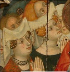 1414-15. Presentación del paño de la Verónica a Abgar, Retablo de la advocación franciscana del convento de Santa Clara de Vic (Osona), Luis Borrassá, Museo Episcopal de Vic, Barcelona (detalle)