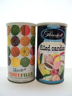 Pair of Vintage Old School Fruit Filled Candy Tins